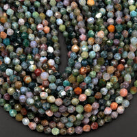 "Star Cut Natural Indian Agate Beads Faceted 6mm 8mm Rounded Nugget Sharp Facets 15"" Strand"