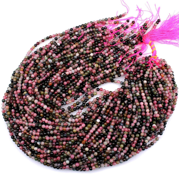 "Natural Multicolor Pink Green Tourmaline Round Beads 4mm Colorfu Real Genuine Tourmaline Gemstone Beads 16"" Strand"