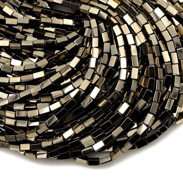 "Titanium Pyrite Rectangle Beads 6x4mm 5x3mm High Quality Sparkling Pyrite Natural Gemstone Beads 16"" Strand"