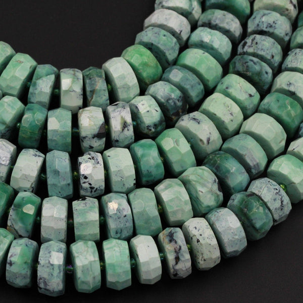 "Natural Faceted African Green Chrysoprase Rondelle Chunky Disc Wheel Heishi Nugget Beads Center Drilled Coin Large 16"" Strand"