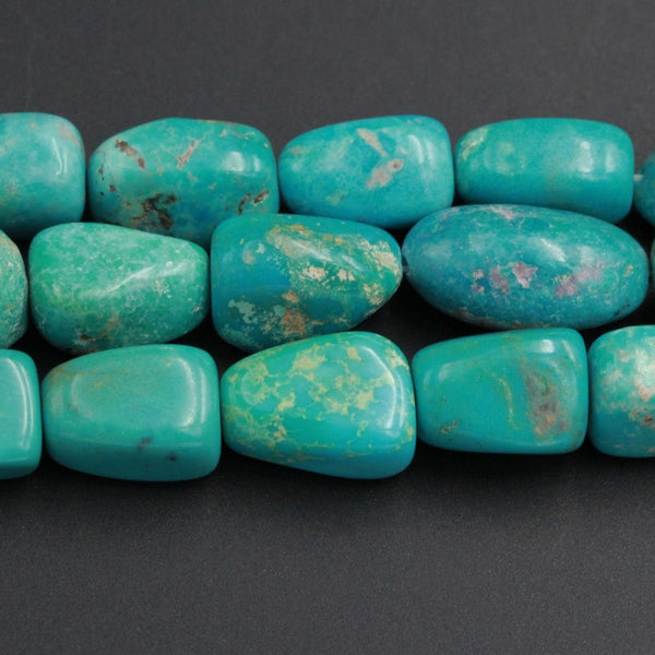 "Genuine Natural Turquoise Freeform Large Rounded Nuggets Genuine Real Stunning Blue Green Turquoise Gemstone Beads 16"" Strand"