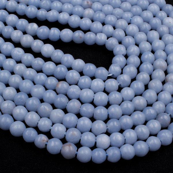 "Natural Blue Angelite 6mm Round Beads Canadian Angel Stone Soft Pastel Blue 16"" Strand"
