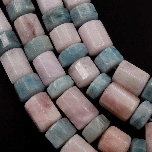 "Large Blue Aquamarine Pink Morganite Beads Faceted Cylinder Hexagon Tube Barrel Unique Designer Beads 16"" Strand"