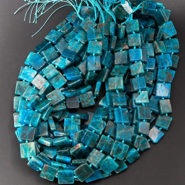 "Natural Blue Apatite Square Beads Thin Slice Flat Teal Blue Gemstone Designer Beads Unique Gem Cut 16"" Strand"