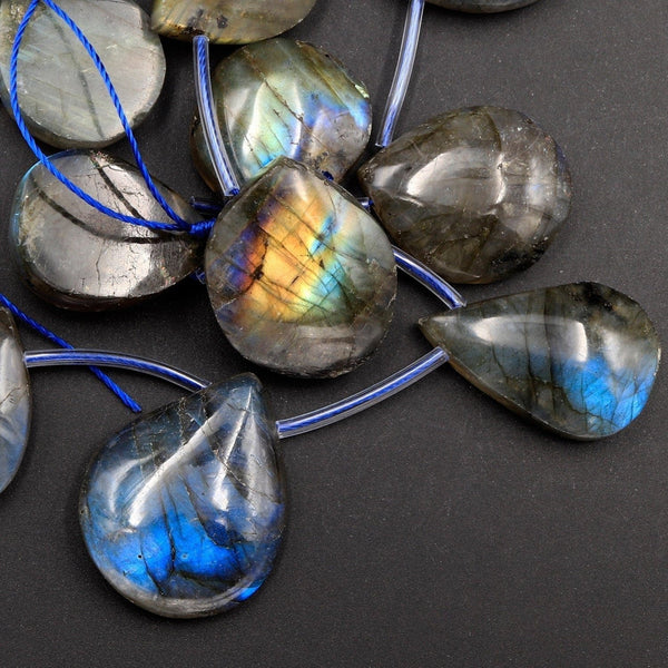"Natural Labradorite Beads Freeform Teardrop Shape Top Side Drilled Pendant Focal Tones of Blue Green Gold Flashes 16"" Strand"