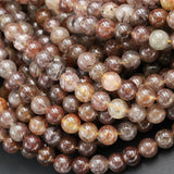 "Multicolor Natural Brown Coffee Amber Forest Green Rutile Quartz 6mm Round Beads Tons of Sharp Rutilated Hair Needle 16"" Strand"