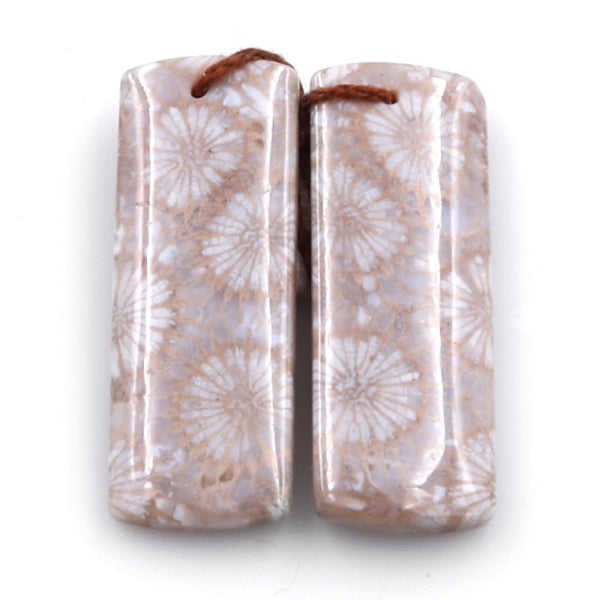 Fossil Coral Earring Pair Cabochon Cab Pair Drilled Rectangle Matched Earrings Natural Pattern Bead Pair