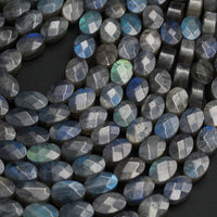 "Faceted Labradorite Oval Beads 12mm 14mm 16mm Natural Dark Labradorite Brilliant Blue Green Flashes Fire Good For Earrings 16"" Strand"