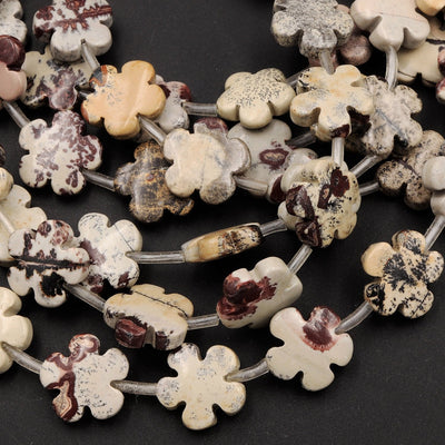 "Carved Picture Jasper Beads Cherry Blossom Flower Earthy Red Yellow Brown Natural Multi-color Artistic Stone 16"" Strand"