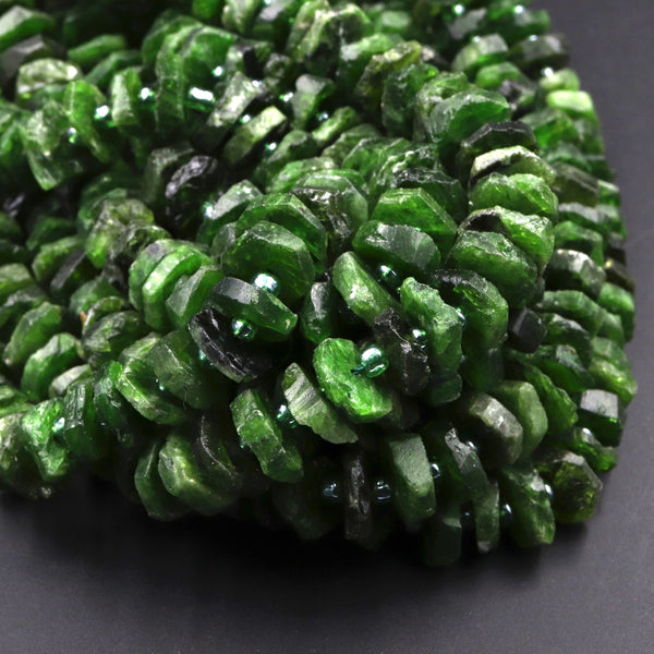 "Gorgeous Large Natural Green Chrome Diopside Heishi Wheel Disc Rondelle Bead Center Drillied Slice Raw Rough Organic Cut 16"" Strand"