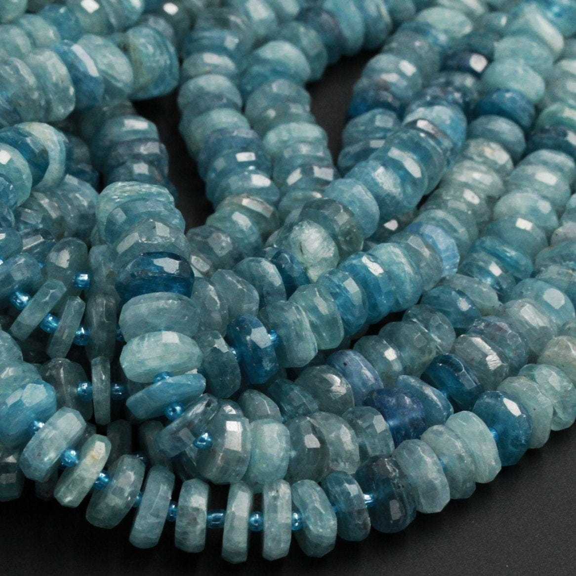 "Rare Bicolor Natural Blue Green Kyanite Faceted Rondelle 12mm 14mm 16mm Real Genuine Untreated Natural Gemstone Large Wheel 16"" Strand"
