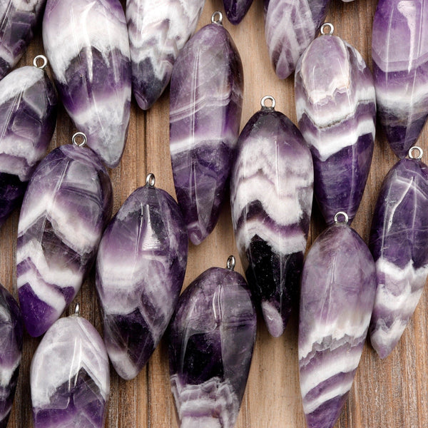 Natural Chevron Amethyst Pendant Teardrop Rich Purple Striking White Stripe High Quality Natural Crystal Pendant Bead