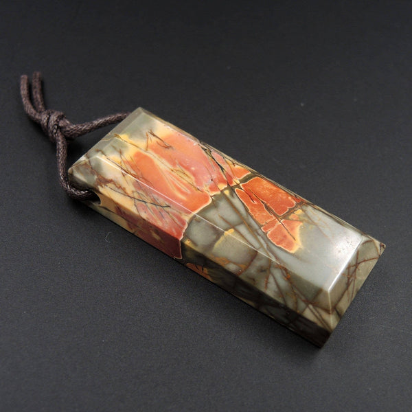 Natural Red Creek Jasper Pendant Mahjong Style Faceted Edges Pendant Multicolor Picasso Jasper Pendant Drilled Rectangle Pendant P1111