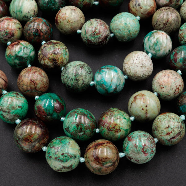 "Large Natural Chrysocolla 16mm Round Beads Real Genuine Natural Green Blue Chrysocolla From Arizona 16"" Strand"