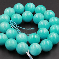 "Timeless Natural Peruvian Amazonite 18mm 20mm Round Bead Large Round Turquoise Like Blue Green Gemstone Superior AAA High Quality 16"" Strand"