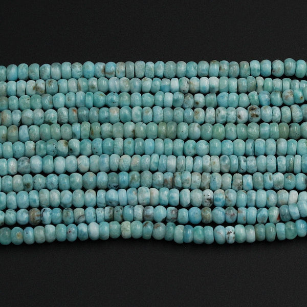 "Natural Blue Larimar Beads Smooth Rondelle 5mm 6mm 7mm 8mm A Grade Genuine Real Larimar Gemstone Full 16"" Strand"