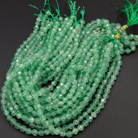 "Star Cut Natural Green Chalcedony Beads Faceted 6mm 8mm 10mm Rounded Nugget Sharp Facets 15"" Strand"