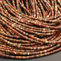 "Red Creek Jasper Beads Small 4mm Heishi Rondelle Beads Earthy Red Green Yellow Brown Multicolor Picasso Jasper Full 16"" Strand"