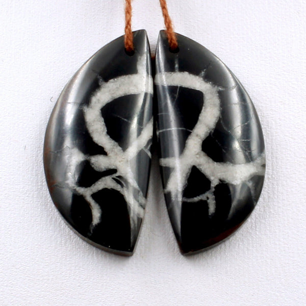 Natural Septarian Fossil Half Moon Earring Pair Cabochon Cab Pair Drilled Matched Earrings Black White Pattern Bead Pair