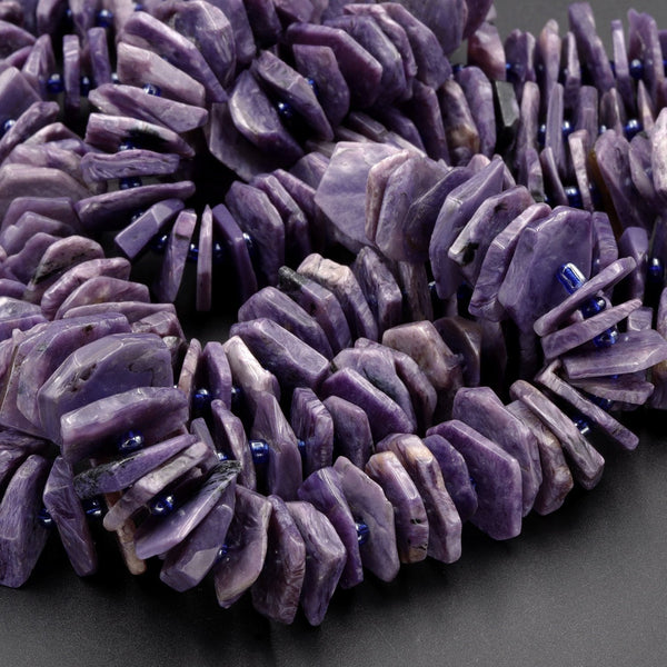 "Gorgeous Large Purple Natural Russian Charoite Heishi Wheel Disc Rondelle Bead Center Drillied Slice Hand Chiseled Organic Cut 16"" Strand"