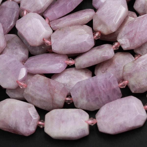"Faceted Kunzite Rectangle Beads Slab Cushion Rectangular Nugget Slice Real Genuine Violet Purple Pink Kunzite Gemstone Focal Bead 16"" Strand"