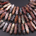 "Natural Pietersite Beads Faceted Double Terminated Pointed Tips Large Drilled Real Genuine Red Brown Blue Gemstone Focal Pendant 16"" Strand"