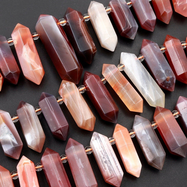 "Rare Botswana Red Agate Beads Faceted Double Terminated Points Top Side Drilled Large Healing Natural Red Crystal Focal Pendant 16"" Strand"
