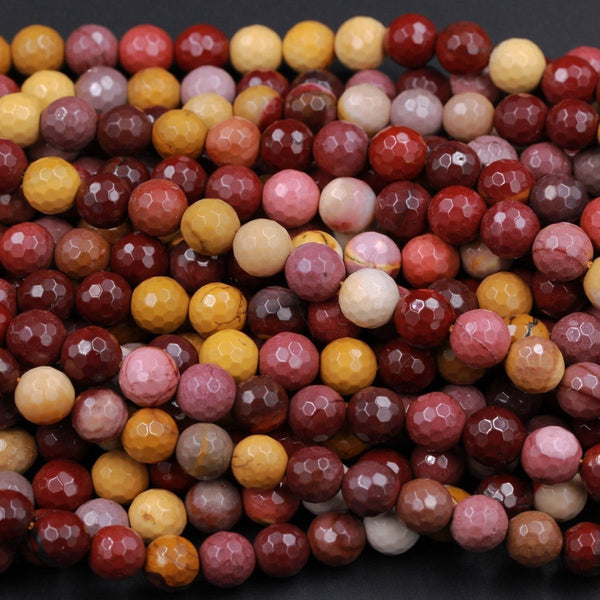 "Faceted Natural Australian Mookaite Jasper Beads 4mm 6mm 8mm 12mm Faceted Sunset Colors Red Yellow Maroon Red Creamy White Full 16"" Strand"