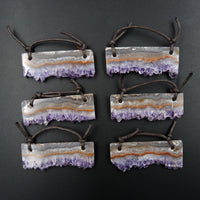 2 Hole Pendant Amethyst Stalactite Pendant Drilled Stalactite Flat Slice Freeform Long Natural Gemstone Pendant Bead Good For Leather P1597