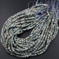 "Rare Real Genuine K2 Beads 6mm Rondelles Natural Blue Azurite in Quartz Granite Smooth Polished Rondelle Beads 16"" Strand"