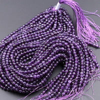 "AAA Finest Natural Amethyst Faceted 5mm 6mm 8mm 10mm Round Beads Miro Faceted Genuine Real Purple Amethyst Gemstone Beads 16"" Strand"