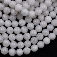 "Natural Rainbow Moonstone 8mm Round Beads Full 16"" Strand"