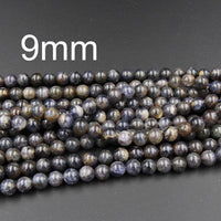 "Natural Iolite 8mm Round Beads Blue Iolite 7mm 8mm Round Beads Polished Plain Round Iolite  9mm Round Beads 11mm Round Beads 16"" Strand"