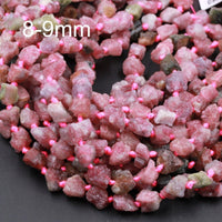 "Rough Raw Natural Pink Tourmline Beads 6mm 8mm Freeform Nugget Multicolor Pink Green Tourmaline Nuggets Organic Cut Nuggets Beads 16"" Strand"