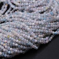 "Gorgeous Faceted Aquamarine 2mm Round Beads Tiny Small Natural Pastel Pink Morganite Baby Blue Beryl Micro Faceted Cut Gemstone 16"" Strand"