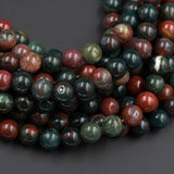 "Natural Bloodstone 8mm Round Beads Smooth Plain Polished Round Beads 16"" Strand"