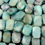 "Natural Amazonite Beads Faceted Rectangle Nugget Center Drilled  Flat Cushion Octagon Blue Amazonite Bead 16"" Strand"