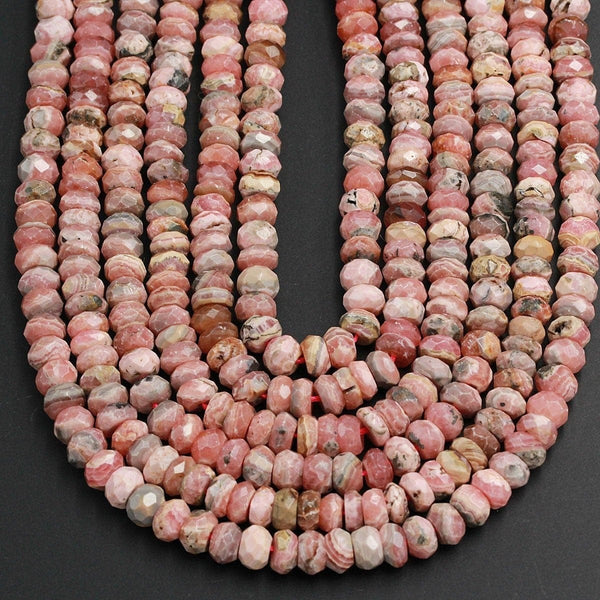 "Rhodochrosite Faceted 9mm Rondelle Beads Natural Pink Red Rhodochrosite Large Faceted Rondelle Nugget Beads Gemstone 16"" Strand"