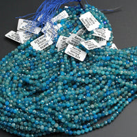 "A Grade Micro Faceted Small Natural Blue Apatite Round Beads 4mm 5mm 6mm Laser Diamond Cut Teal Blue Green Gemstone 16"" Strand"
