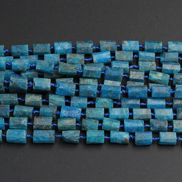"Matte Natural Blue Apatite Tube Nugget Raw Rough Frosty Organic Beads Faceted Rectangle Cylinder Natural Teal Blue Gemstone Full 16"" Strand"