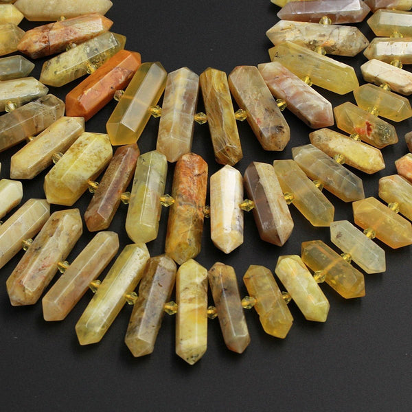"Large Natural Yellow Opal Beads Faceted Double Terminated Pointed Tips Healing Focal Pendant Bead African Opal Bicone Bullet 16"" Strand"