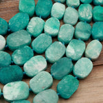 "AAA Russian Amazonite Oval Rounded Rectangle Beads Oraganic Matte Finish Bright Vibrant Natural Aqua Blue Green Amazonite 16"" Strand"