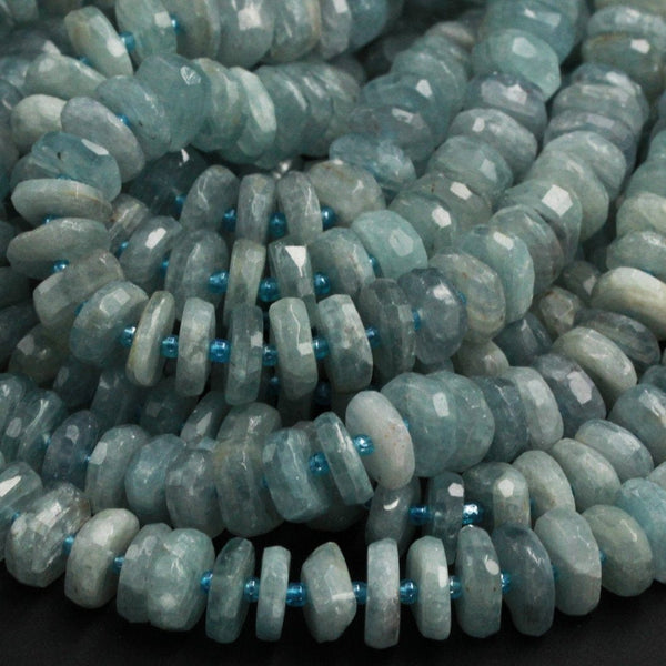 "Rare Teal Green Kyanite Large Faceted Rondelle 12mm 16mm Real Genuine Untreated Natural Gemstone Large Thick Wheel 16"" Strand"