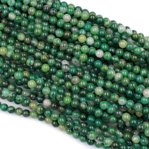 "Natural African Green Jade Beads 4mm 6mm 8mm 10mm Round Smooth Green Jade W White Quartz Gemstone Beads 16"" Strand"