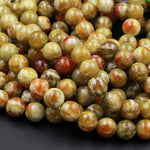 "Rare Natural Russian Blood Serpentine Jade 6mm 8mm 10mm 12mm Round Beads Red Mustard Green Jade From Russia 16"" Strand"
