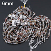"Botswana Agate Beads Faceted 6mm Round Faceted 8mm Round Faceted 10mm Faceted 12mm Round Beads 16"" Strand"