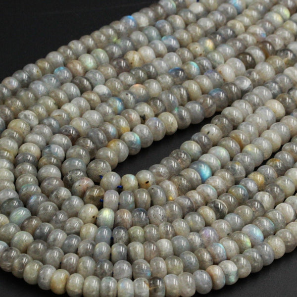 "Natural Labradorite Rondelle Beads 8mm 9mm Large Thick Rondelle Wheel Beads 16"" Strand"