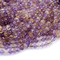"Natural Ametrine Faceted 6mm 8mm Beadz Genuine Real Ametrine Gemstone Purple Amethyst Golden Citrine 16"" Strand"