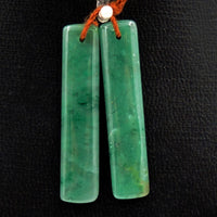 Drilled Natural Green Jade Earring Pair Rectangle Cabochon Cab Pair Matched Gemstone Earrings Bead Pair