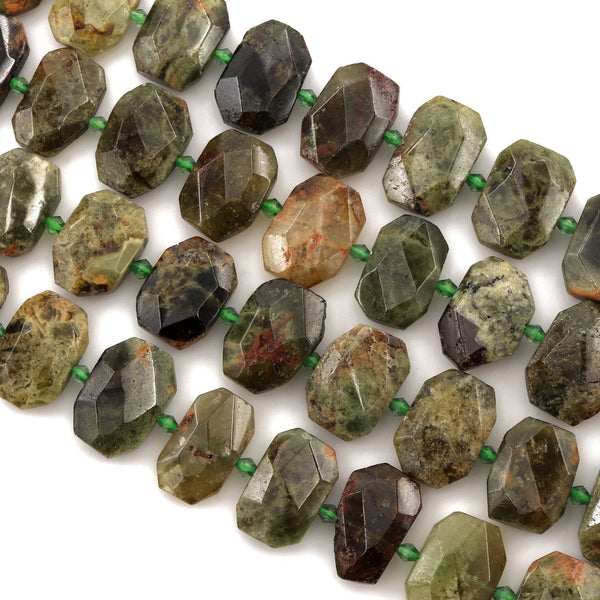 "Stunning Large Faceted Natural Green Garnet Octagon Slab Cushion Rectangle Rectangular Nugget Slice Pendant Focal Beads 16"" Strand"